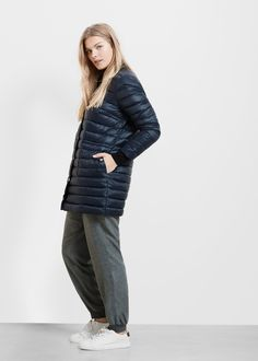 Quilted feather long coat - Plus sizes Quilting Designs, Mango, Feather, Normcore, Plus Size, Style Inspiration, Usa, Long Sleeve, Clothes