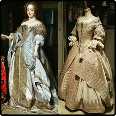 I made some small improvements to the bodice and added a very nice lace around the neckline.  Tonight a final fitting,  but I think the dress is done!  Left : Portrait of a lady by Gabriel Metsu, 1667. Right costume made by Angela Mombers