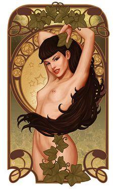 Illustrator Daniela Uhlig has re-interpreted illustrations in the style of Art Nouveau painter Alphonse Mucha Alphonse Mucha, Art Nouveau, Fantasy Women, Fantasy Art, Pin Up Art, Up Girl, Oeuvre D'art, Erotic Art, New Art