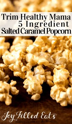 Salted Caramel Popcorn - THM E Sugar Free Low Fat Gluten Free 5 ingredients fast and easy! My Salted Caramel Popcorn is a delight. It only takes 5 ingredients and 15 minutes to whip up a batch of this sugar-free Trim healthy mama friendly treat. Trim Healthy Mama Diet, Trim Healthy Recipes, Thm Recipes, Ketogenic Recipes, Cooking Recipes, Healthy Popcorn Recipes, Cream Recipes, Diabetic Recipes, Healthy Carbs