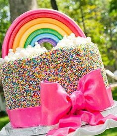 Lovely Rainbow Cake - not unlike one my dear friends made for me!
