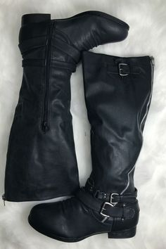 - faux leather black riding boots - tall zipper and silver buckles