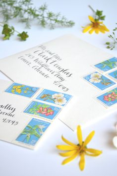 Vintage Wildflower Postage Stamps