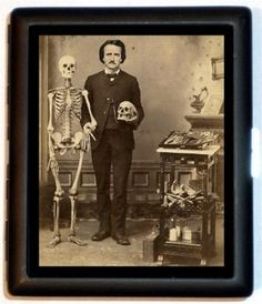 "Edgar Allan Poe and a skeleton. This illustrates Poe's clear obsession with death and the dead, as shown in ""Lady Ligeia."""
