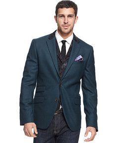 Tallia Orange Blazer, Aqua Melange Wool with Paisley Detail Blazer - Mens Blazers & Sport Coats - Macy's