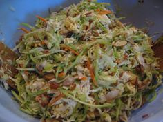 Asian Ramen Noodle Coleslaw So good only I use Rice vinegar, sesame oil and soy sauce.