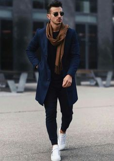 Men Clothing Fall fashion inspiration with a navy jacket brown scarf black joggers black top no show socks white sneakers Men Clothing Source : Mode Outfits, Casual Outfits, Men Casual, Fashion Outfits, Fashionable Outfits, Casual Shirts, Mode Man, Winter Outfits Men, Men Winter Fashion