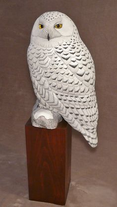 Life-sized Snowy Owl - Artwork by Tim McEachern. Owl Photos, Owl Pictures, Whittling Projects, Owl Artwork, Intarsia Wood, Wood Carving Patterns, Wood Bird, Beautiful Owl, Snowy Owl