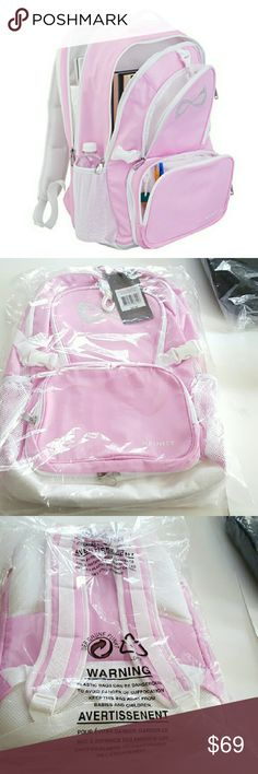 Nfinity Princess Backpack, Pink, New Nfinity Princess pink backpack w/ rhinestone logo. Great for cheerleaders, ballerinas, gymnasts & other athletes! Big, roomy & high quality. See my Nfinity Backpack offers in light teal & shimmery black.  Features:  -  Lightweight 100% Nylon - Air-mesh padding on back for increased comfort & breathability - Large volume interior design w/ 3 compartments & padded lap top sleeve - Main compartment large enough for Nfinity shoe case - 2 water bottle holders…