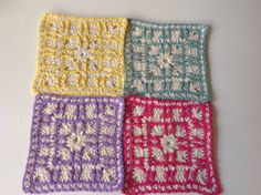 Set of 4 coasters, square, cotton, crochet by Mywaycrochet on Etsy