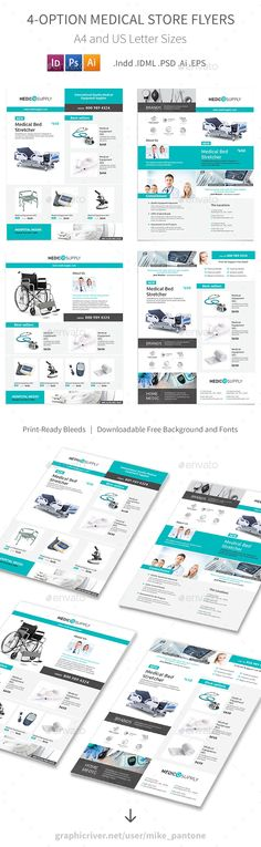 Medical Store Flyer Templates - 4 Options - PSD, Vector EPS, InDesign INDD, AI Illustrator