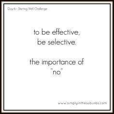 Day 6 Starting Well Challenge: Saying No | Simply in the Suburbs