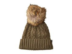 The North Face Oh-Mega Fur Pom Beanie (New Taupe Green) Beanies. 72fc24ababf3