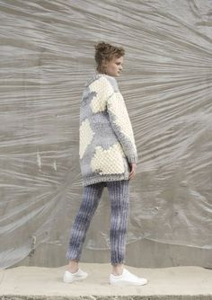 Anna Dudzińska, NATURAL THING, aw2016, sweater IKLO, trousers SAFY. To download high or low resolution product images view Mondrianista.com (editorial use only).