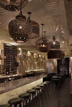 Beautiful Lighting at the Palmilla Restaurant in Hermosa Beach. Cage Light Fixture, Ethnic, Dramatic Lighting, Cool Space