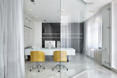 Chado Architecture Studio has developed the new offices of a dry cleaning company located in Moscow, Russia. The office interior was specially designed City Office, Workplace Design, Office Workspace, Office Interiors, Sign Design, Dry Cleaning, Moscow, Light Colors, Furniture