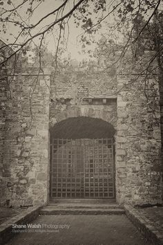 Audoen's gate is only of only few remaining gates of the old medieval wall in Dublin City Ireland. A witch was burned alive on these very gates and today still haunts the 40 steps behind it. Most Haunted, Haunted Places, La Danse Macabre, Ghost Hauntings, Dublin City, Haunted History, Interesting History, Old Photos, Abandoned Buildings