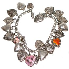 Vintage Sterling Silver Puffy Heart Charm Bracelet