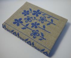 Cross Stitch A6 Journal & Cover - Field of Flowers Blue | Felt