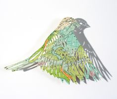 Your Monday Morning Medicine: Birds! - Have some coffee and give these a look-see– artist Claire Brewster's delicate paper birds, made from maps! Origami, Cut Out Art, Art Carte, Colossal Art, Paper Birds, Paper Artist, Arts And Crafts Projects, Bird Art, Paper Cutting