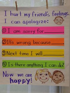 Demonstrate appropriate social and classroom behavior. This would show to the students the classroom way to apologize. Behaviour Management, Classroom Management, Preschool Behavior Management, Time Management, Relation D Aide, Responsive Classroom, Classroom Behavior, Classroom Decor, Classroom Consequences