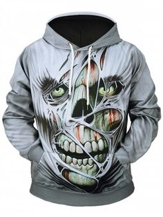 4c2e4dca368538 3D Printed Skull Pullover Hooded Sweatshirt Cheap Hoodies
