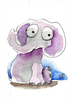 ACEO Original watercolor painting Lucia Stewart whimsical wild animal Elephant #IllustrationArt