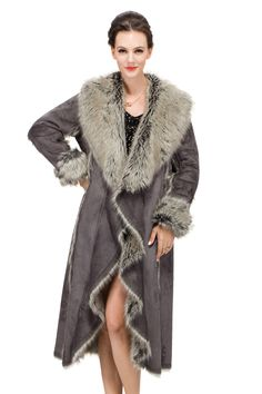 Gray suede with faux fox fur collar and cuff long suede coat