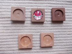 5 pc unfinished wooden pendant/brooch base with 20mm cabochon frame,square pendant setting,wooden pendant tray,jewel supply,diy 5 pieces square dark walnut, light walnut, cherry jewel base/frame for jewel making. It is perfect size to make earrings/brooch or pendant. The edges are slightly rounded.  https://www.etsy.com/listing/126588699/5-pc-unfinished-wooden-pendantbrooch?ref=related-0