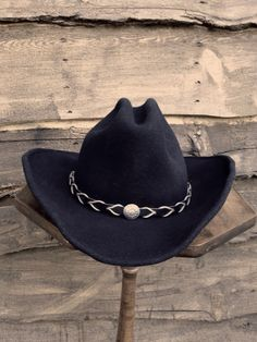 Vintage Cowboy Hat, Black Wool Felt, Renegade, with Braided Leather Band- Size Medium -Black Cattleman Style Cowboy Hat by DaVinciJane on Etsy