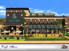 Hasthepsut's Penthouse No. Cafe Exterior, Restaurant Exterior, Sims Building, Building Facade, Sims 4 Loft, Cafe Floor Plan, Lotes The Sims 4, Work Cafe, Retail Facade