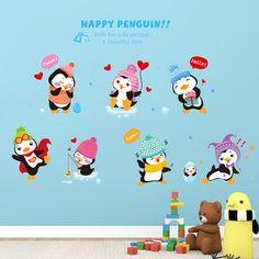 Cute Kids Room Decor Happy Penguin Wall Sticker DIY Cartoon Wall Sticker