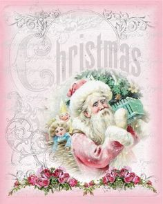 Pink Santa Shabby Christmas pink roses by CottageRoseGraphics Pink Christmas Tree, Shabby Chic Christmas, Victorian Christmas, Santa Christmas, All Things Christmas, Christmas Time, Christmas Crafts, Christmas Decorations, Christmas Ornaments