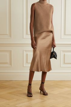 Camel Ribbed cashmere turtleneck top | Theory | NET-A-PORTER