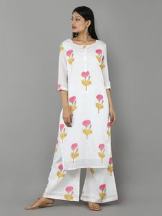 Off White Pink Mustard Mulmul Cotton Kurta with Palazzo - Set of 2