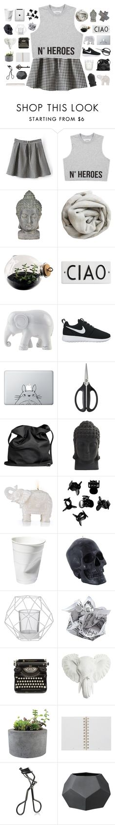 """""""N o  H E R O S"""" by abbeyso ❤ liked on Polyvore featuring Universal Lighting and Decor, Brunello Cucinelli, Esque Studio, Rosanna, The Elephant Family, NIKE, Humör, OXO, Ann Demeulemeester and Nearly Natural"""