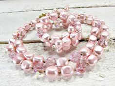 Vintage JAPANESE Beaded Necklace Bracelet Set, Pink Baroque Pearls, AB Crystals, Double Strand Necklace, Wrap Bracelet, 50s Costume Jewelry by RedGarnetVintage