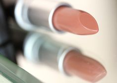 Wholesome Lipstick, a sheer, warm pinkish nude with an Amplified finish