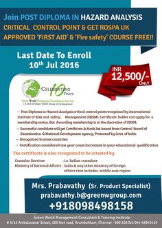 """GWG offering """"HAZARD ANALYSIS CRITICAL CONTROL POINT"""" course at low cost.  http://greenwgroup.co.in/training-courses/post-diploma-in-hazard-analysis-critical-control-point-haccp-iso-22000-standards/"""