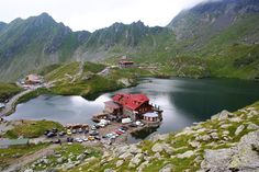 Balea Lake, Arges county - ROMANIA.   Located at an altitude of 2034 m on Transfagarasan road, Balea Lake is a glaciar lake formed in Fagaras Mountains.
