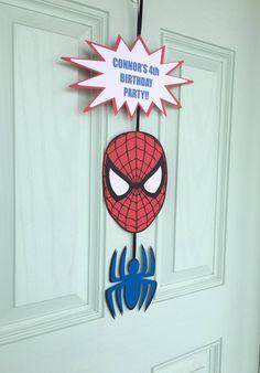 Spiderman Sign Front Door Sign Spiderman Birthday by BellesBanners