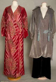Two Silk Velvet Evening Coats, C. 1915