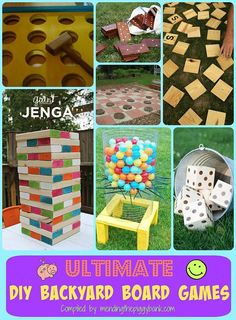 Ultimate DIY Backyard Board Games --   Jenga, Ker-Plunk, Yahtzee, Scrabble AND MORE!  The idea of a giant board game in my backyard makes me exceptionally giddy! All of the following larger-than-life size board games will take you some time to create, and some are more expensive and time consuming than others, but will without a doubt provide some incredible fun for you and your family!