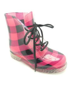 Perk up those cloudy days with rain boots so fetching they're sure to steal some thunder. With a lace-up silhouette and see-through upper, this pair brings glamour to even the wettest weather. Buy Shoes, Me Too Shoes, Pink Raincoat, Pink Umbrella, Red And Black Plaid, Kinds Of Clothes, Black Rubber, Rubber Rain Boots, Fashion Accessories