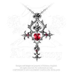 P456 - Renaissance Cross of Passion Pendant With customary lavish Orthodox flourishing, the deep red Swarovski crystal Sacred Heart is displayed.