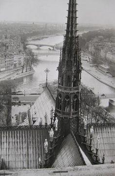 View atop Notre Dame, Paris 1948.