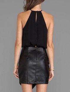 Leather Skirt Dress Black Halter Chiffon Asymmetrical Dress
