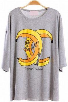 GrabMyLook Double Banana Mid Half Sleeves Cotton Summer T-Shirt