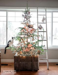 """The little twiggy rustic Christmas tree and the beautiful """"Mincho"""" (kitty) Funky Junk Interiors"""