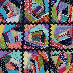 Type of Crazy Quilt -- choose random scraps to make the blocks, then sew the blocks together.